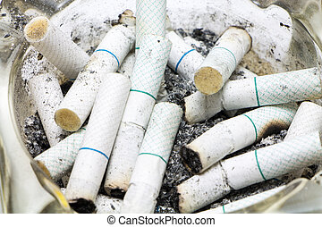 Cigarette butt in ashtray