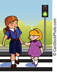 Children - Two children use a cross walk to cross the...