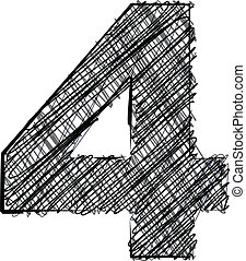 Hand draw font. NUMBER 4. Vector illustration