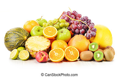 Composition with variety of fruits isolated on white