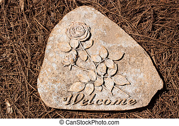 Welcome Stepping Stone on Pine Straw - Welcome stepping...