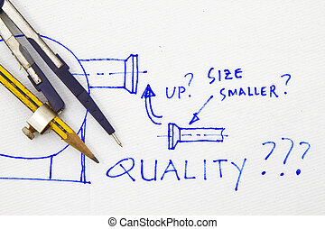 Quality abstract with engineering tools and sketch in a...