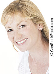 Happy Smiling Middle Aged Woman - Studio portrait head shot...