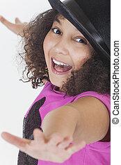 bailando, niño, norteamericano, carrera, africano, mezclado,...
