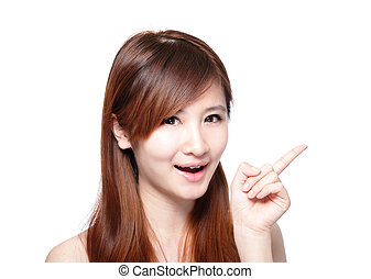 Beautiful woman smile pointing