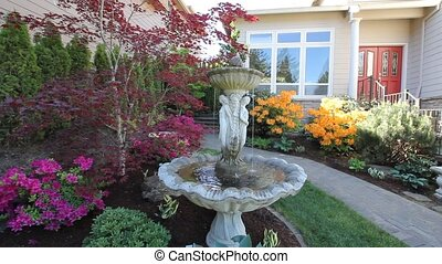 Water Fountain in Garden Spring - Water Fountain in Colorful...