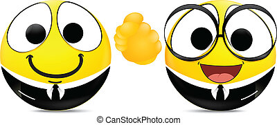 Two emoticons shaking hands . busin