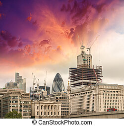 City of London Wonderful view of Buildings with colourful...