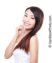 Woman hair care - Woman had long straight hair care and...