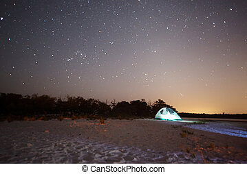 Camping at Night in the Ten Thousand Islands of Florida.