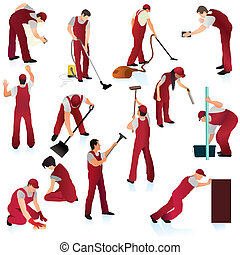 Set of thirteen professional cleaners in the red uniform