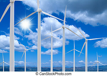 Wind Farm On a Bright Day - Wind farm with distant landscape...