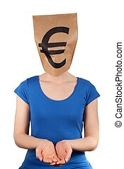 person with moneyhead - a person with a euro sign on a paper...