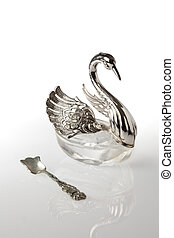 Antique Crystal and Metal Swan