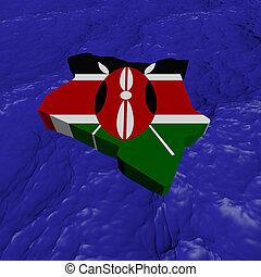 Kenya map flag in abstract ocean illustration