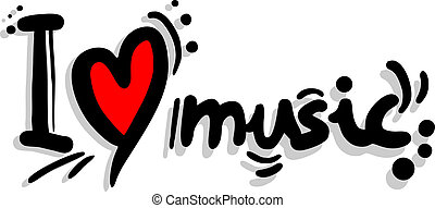 I love music - Creative design of love music message