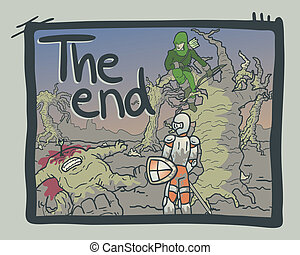 The end comic - Creative design of the end comic scene