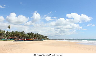 Boat on tropical coast - Sri Lanka, Unawatuna, beach and...