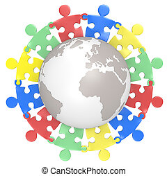 Multicultural - Puzzle people holding hands around the Globe...