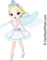 Tooth fairy  -  Cute smiling tooth fairy with toothbrush.
