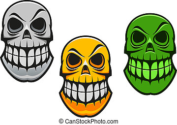 Monster skull in cartoon style for halloween design