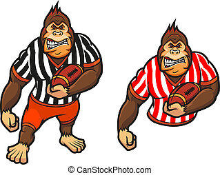 Gorilla player with rugby ball in cartoon style for mascot...