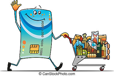 Credit card with shopping cart