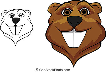 Beaver mascot - Beaver head in cartoon style for sport team...