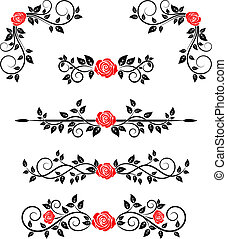 Roses with floral embellishments and borders for design