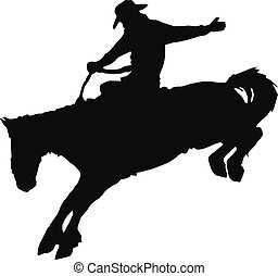 Cowboy riding horse at rodeo. - Vector silhouette of cowboy...