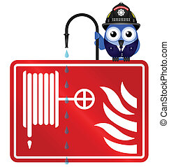 fire hose reel - Comical fire hose reel sign isolated on...