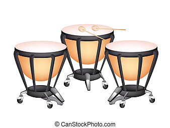 Three Beautiful Classical Timpani on White Background -...
