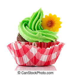 Colorful cupcake in green and red