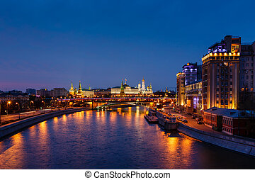 View on Moscow River Embankment and Moscow Kremlin in the Night, Russia