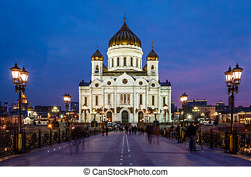 Patriarch Bridge and Cathedral of Christ the Saviour in the...