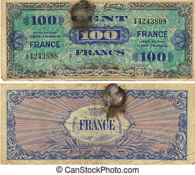 100 Francs Note 1944 front and back