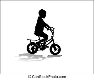 boy on a bike vector illustration silhouette