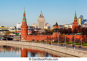 View on Moscow Kremlin and Ministry of Foreign Affairs,...