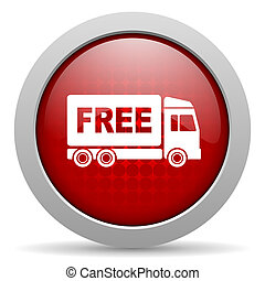 free delivery red circle web glossy icon