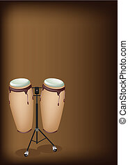 Beautiful Congas with Stand on Dark Brown Background - Music...