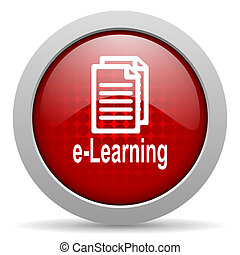 e-learning red circle web glossy icon