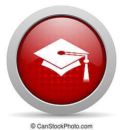 graduation red circle web glossy icon