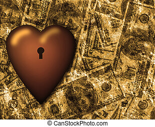 Locked heart and US currency background