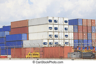 freight shipping containers in port