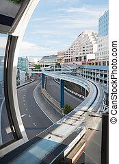Sydneys monorail - view of Sydneys street from monorail...