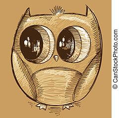 Cute Doodle Sketch Owl vector