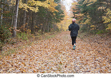 Jogger in fall - Woman running on a trail of leaves