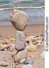 grande, equilibrar, pedras