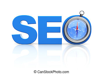 seo word and compass - 3d images of seo blue word and modern...