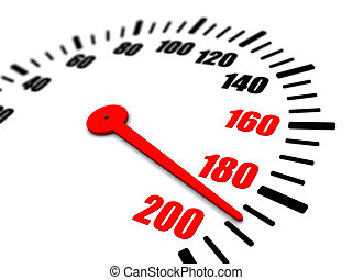 3 speeding on the dial - 3d illustration of speedometer...